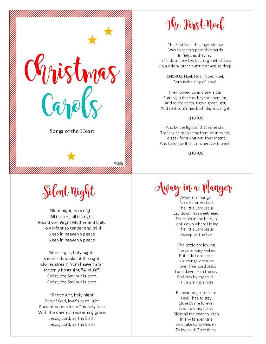 CHRIST-CENTERED CHRISTMAS CAROLS: FREE PRINTABLE