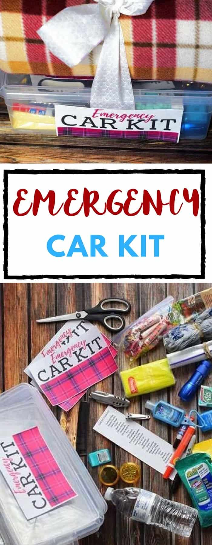 Emergency car kit, with a list of almost everything you could think of! So helpful