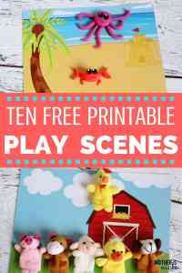 MULTI-PURPOSE PLAY SCENES- 10 Free Printables Scenes for play doh, markers, toys, finger puppets, etc…