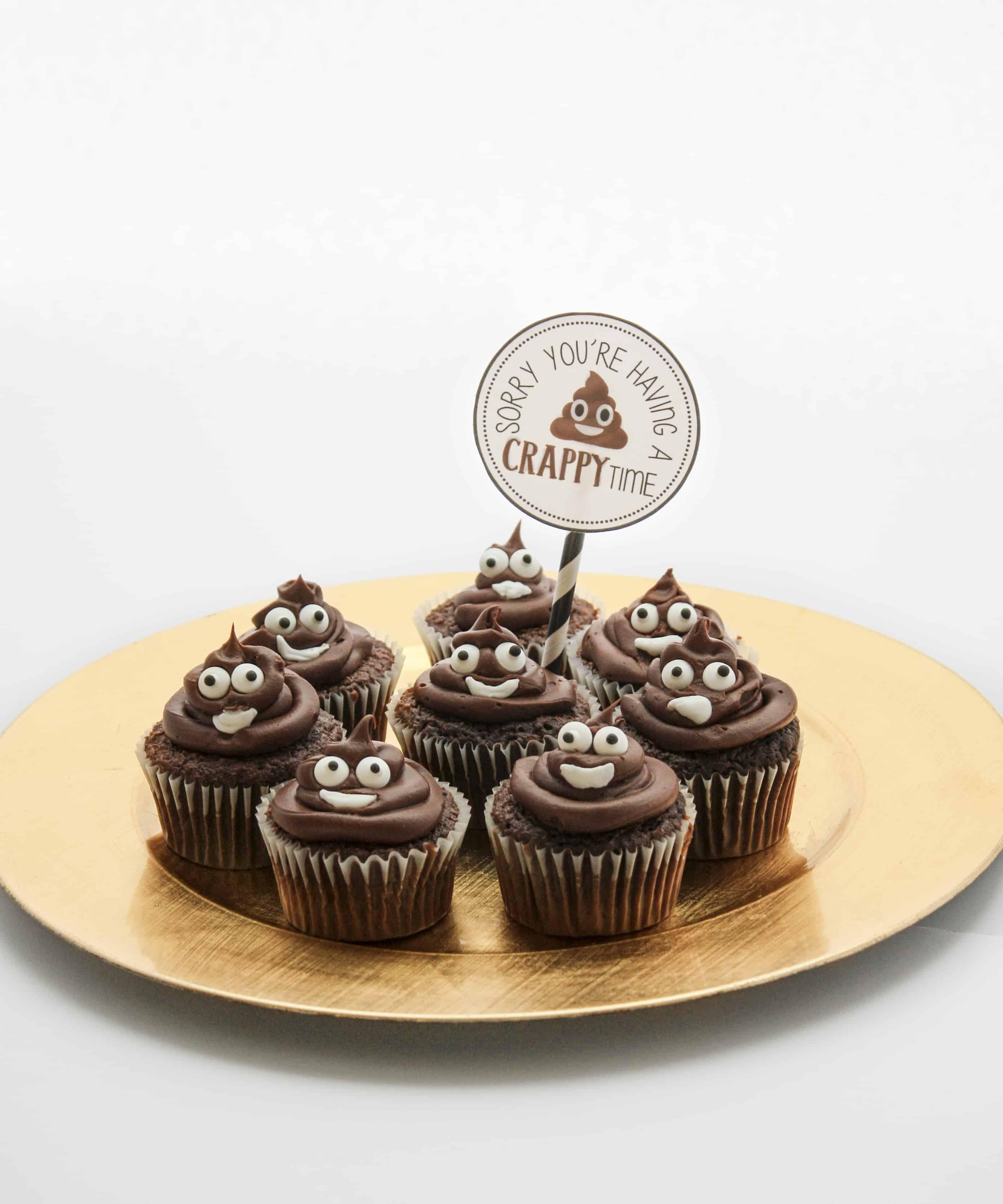 Poop Emoji Cupcake Tutorial + Printable tag