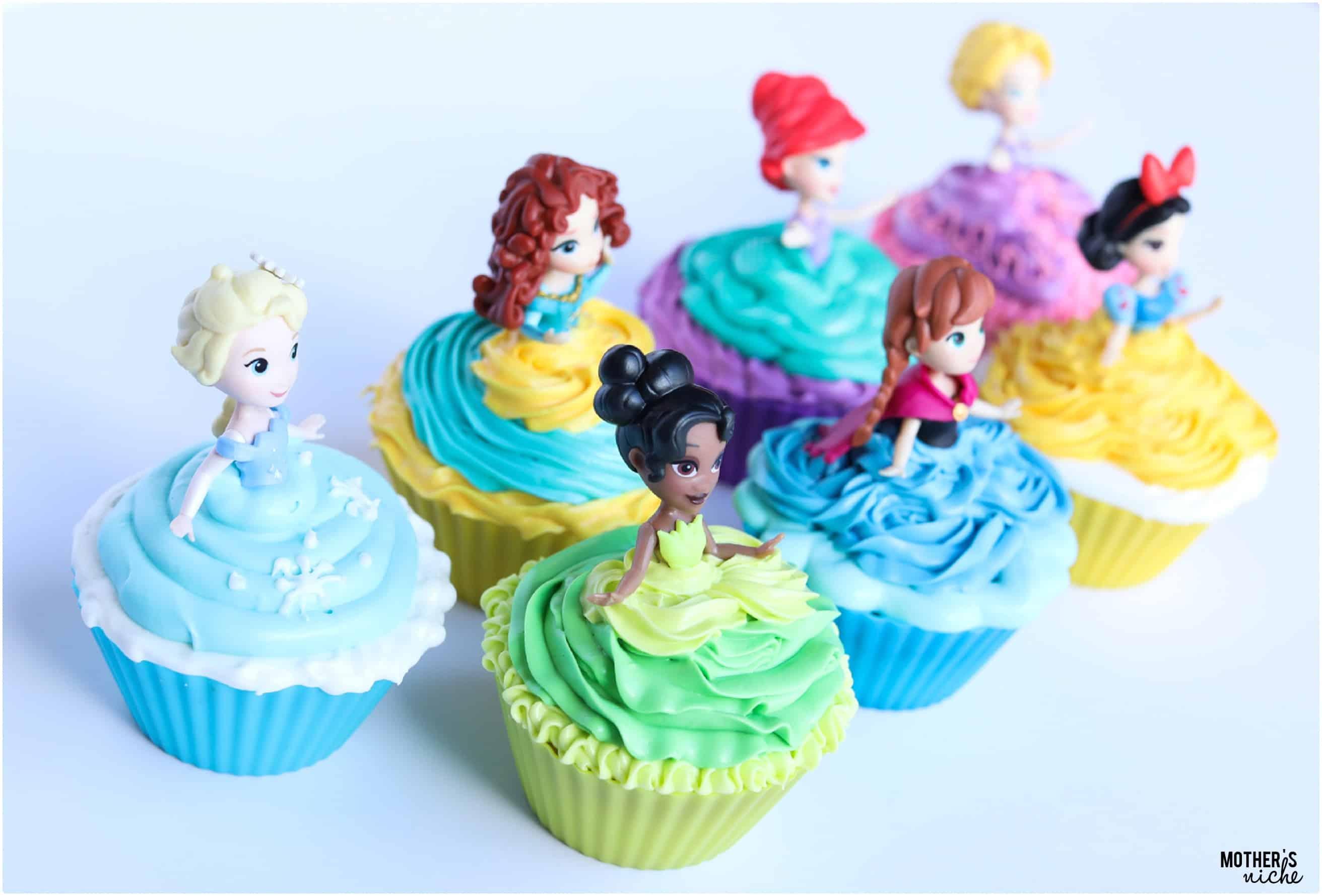 Princess Cupcakes Easy Disney Princess Cupcakes with a Video Tutorial