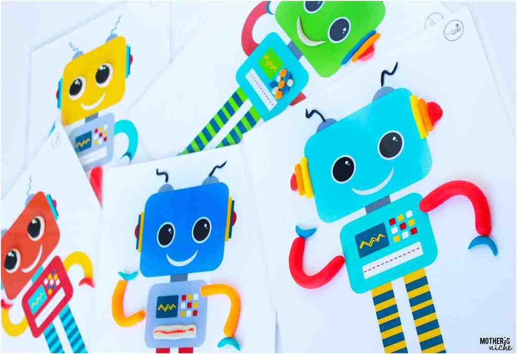 ROBOT- Play dough mat for learning spaped, hand coordination and matching