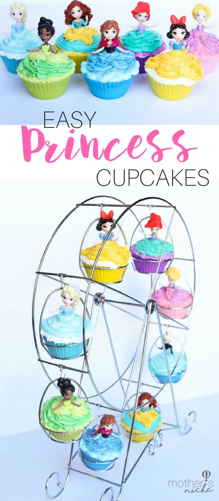 Easy Princess cupcakes that can easily be made into a princess birthday cake.