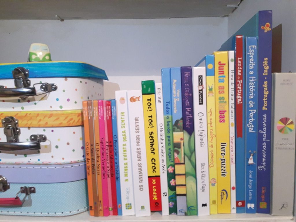 Children's books in a bookshelf