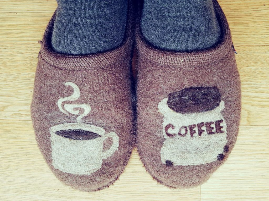 Coffee Motif Brown Slippers