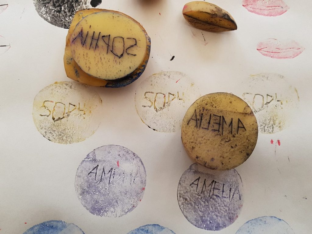 Potato stamps carved with names