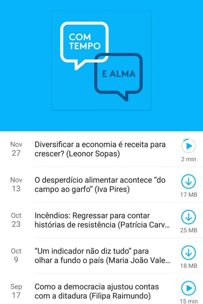 Screenshot of the Com tempo e alma podcast
