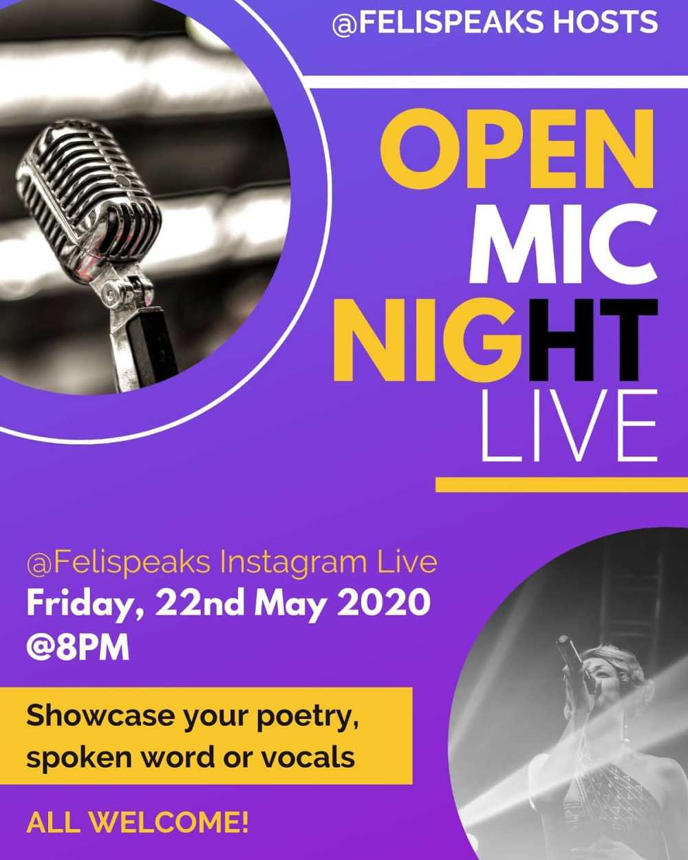 open mic live felispeaks