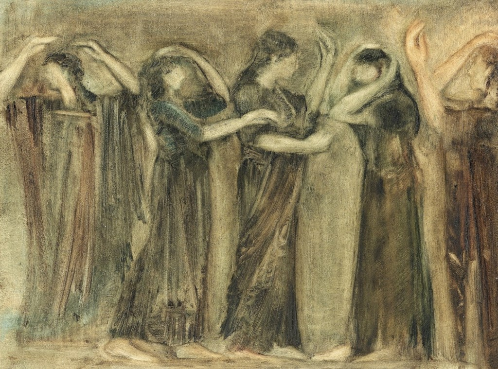 Sketch of ancient women in a row holding onto each other