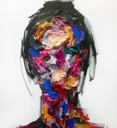 A sketch of a woman's head with her face a palette of painted colours