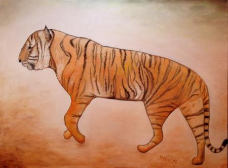 painting of a tiger walking