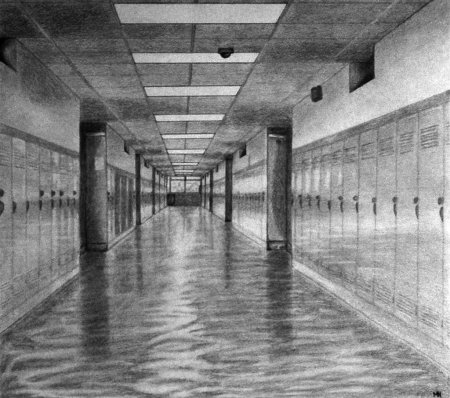 school hallway and lockers with a floor of water