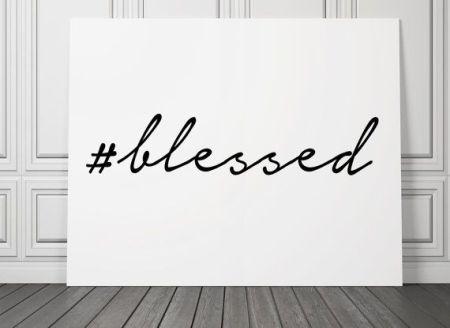 Hashtag cursive blessed white canvas