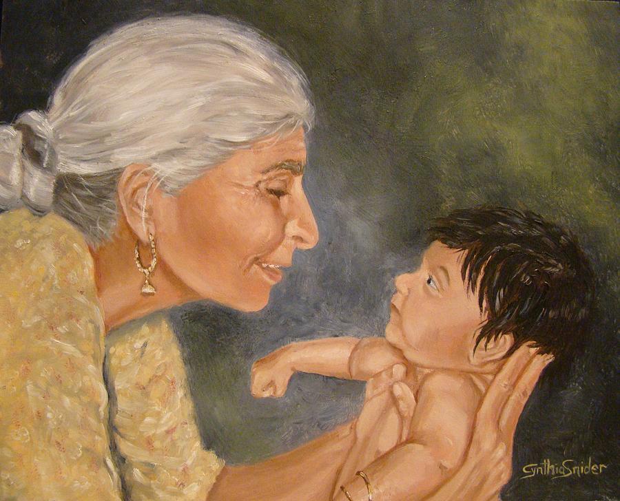 Grandma looking into baby's eyes