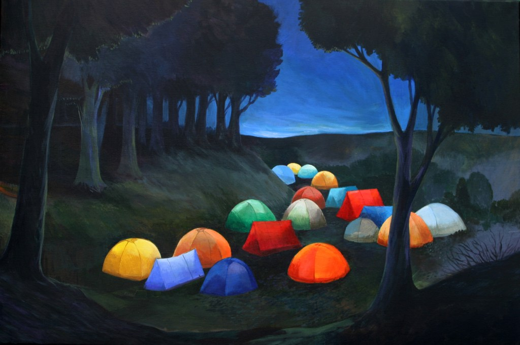 colorful tents in dark forest