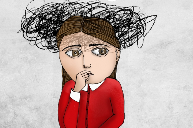 drawing of girl looking anxious with black scribbles above her head