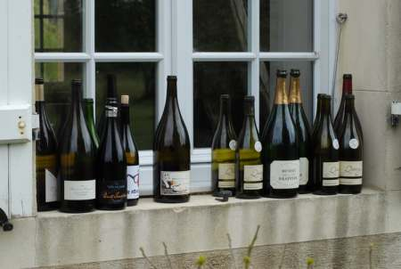 Used wine bottles lined up outside on a windowsill