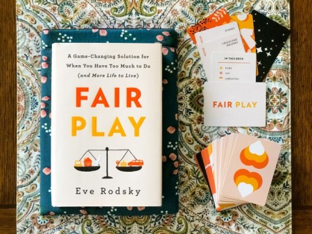 picture of Eve Rodsky's Fair Play book and game.