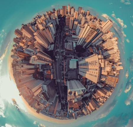 fisheye photograph of a city