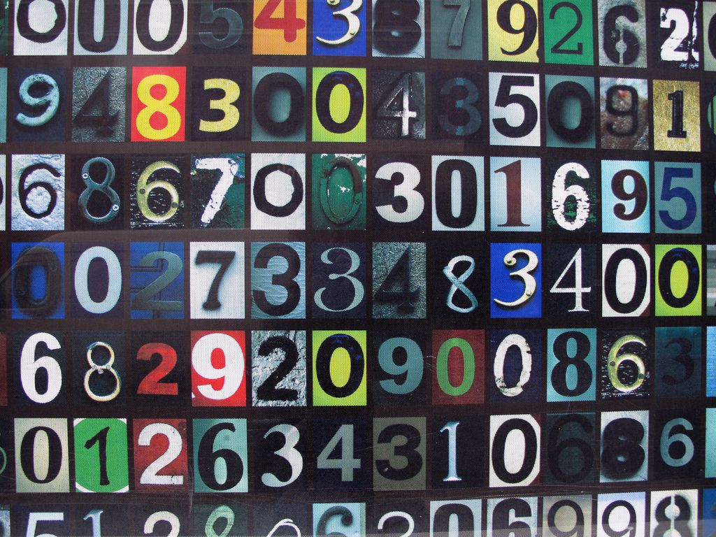 large mosaic of colored numbers