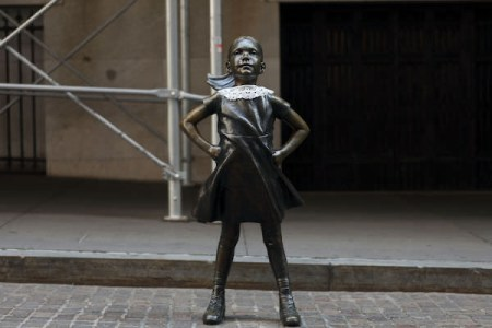 fearless girl statue dons RBG white collar