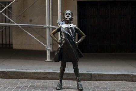 fearless girl statue dons RBG white collar