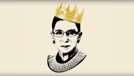 sketch of RBG with a crown