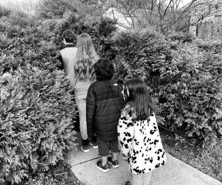 Four children from the back walking through trees like in Narnia