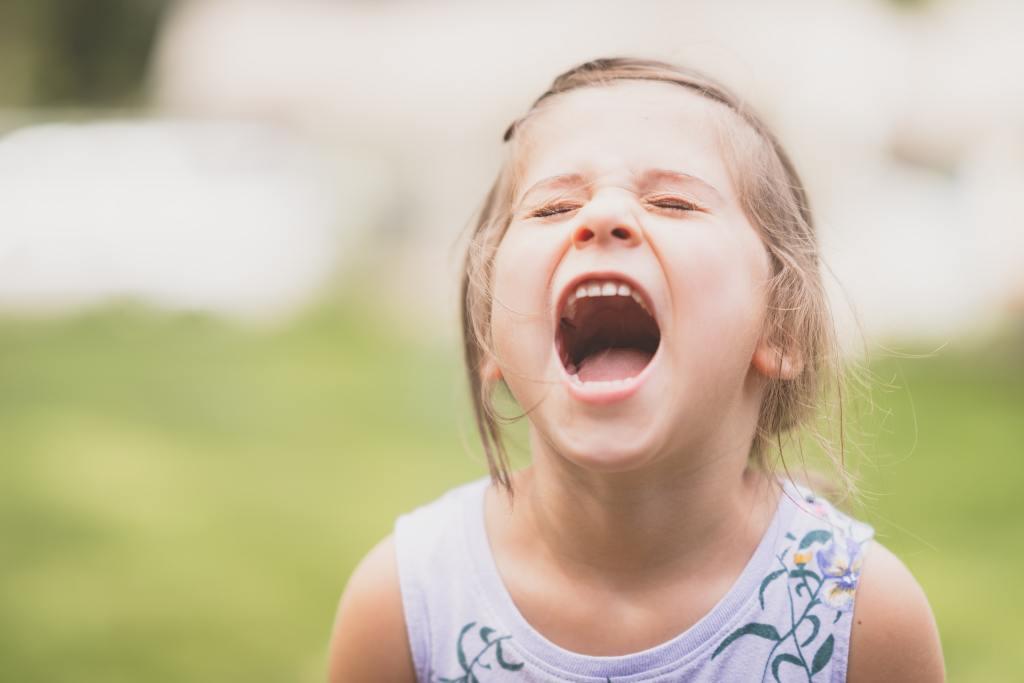 little girl screaming outside