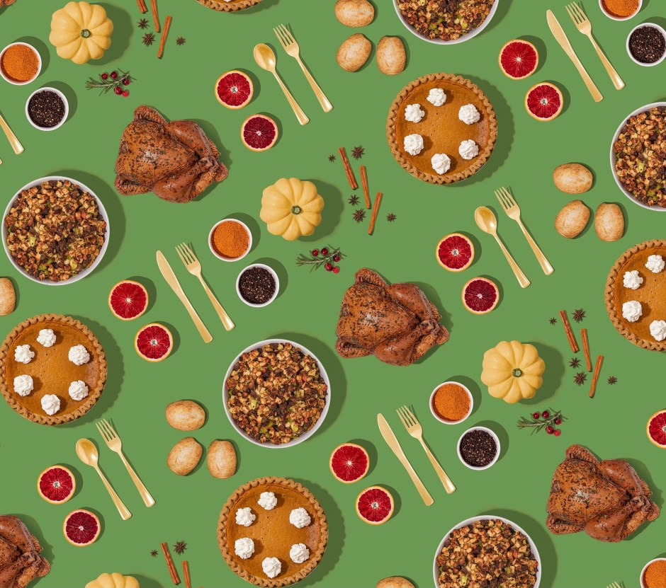 green pattern of thanksgiving items