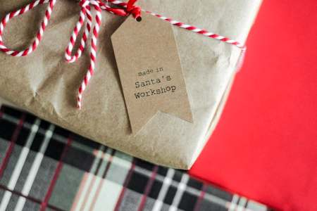 Wrapped present with made in Santa's workshop label