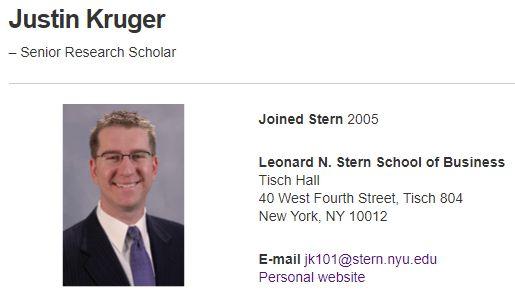 ジャスティン・クルーガー : NYU Stern(ニューヨーク大学の経営大学院)