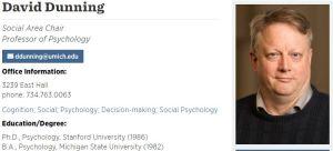 デイヴィッド・ダニング : University of Michigan(ミシガン大学)