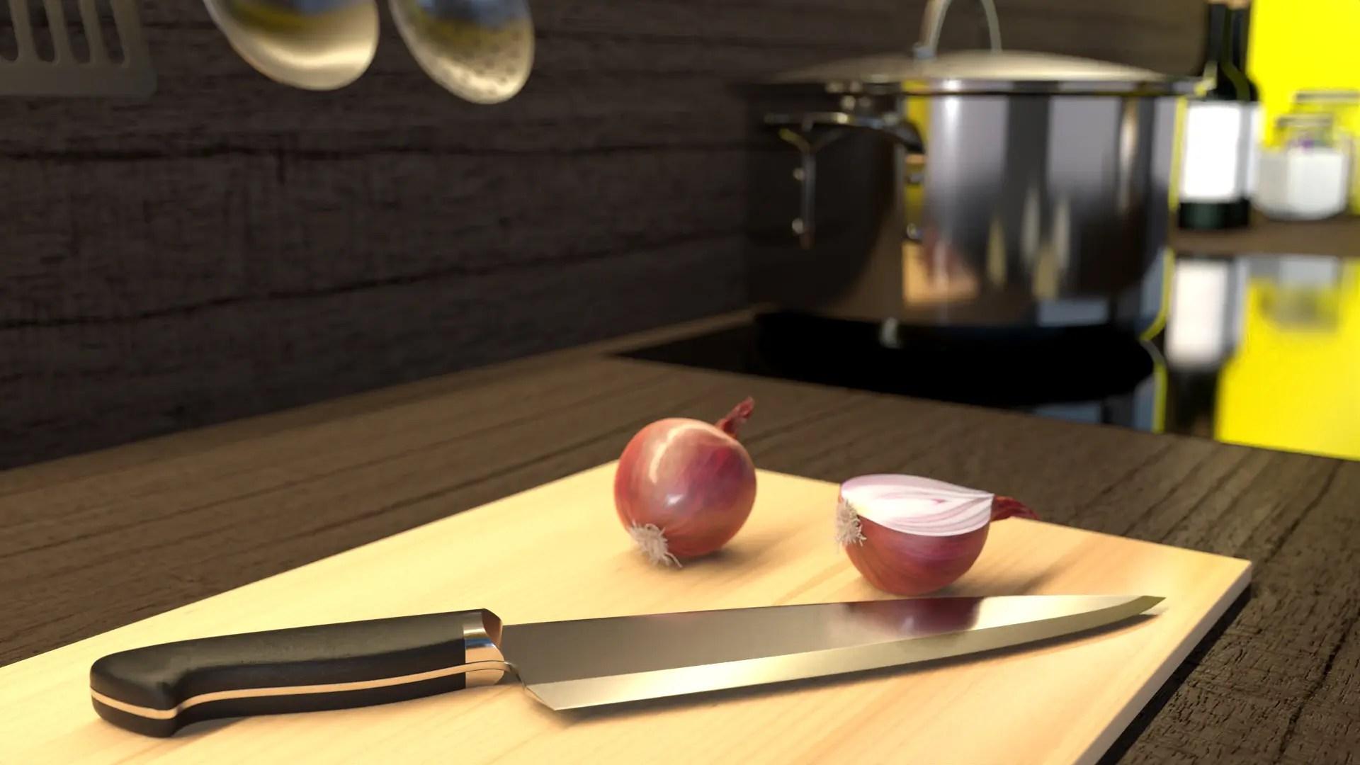 3d Mood-Grafik Hochglanz Messer mit zerschnittener zwiebel fotorealismus in Cinema4D