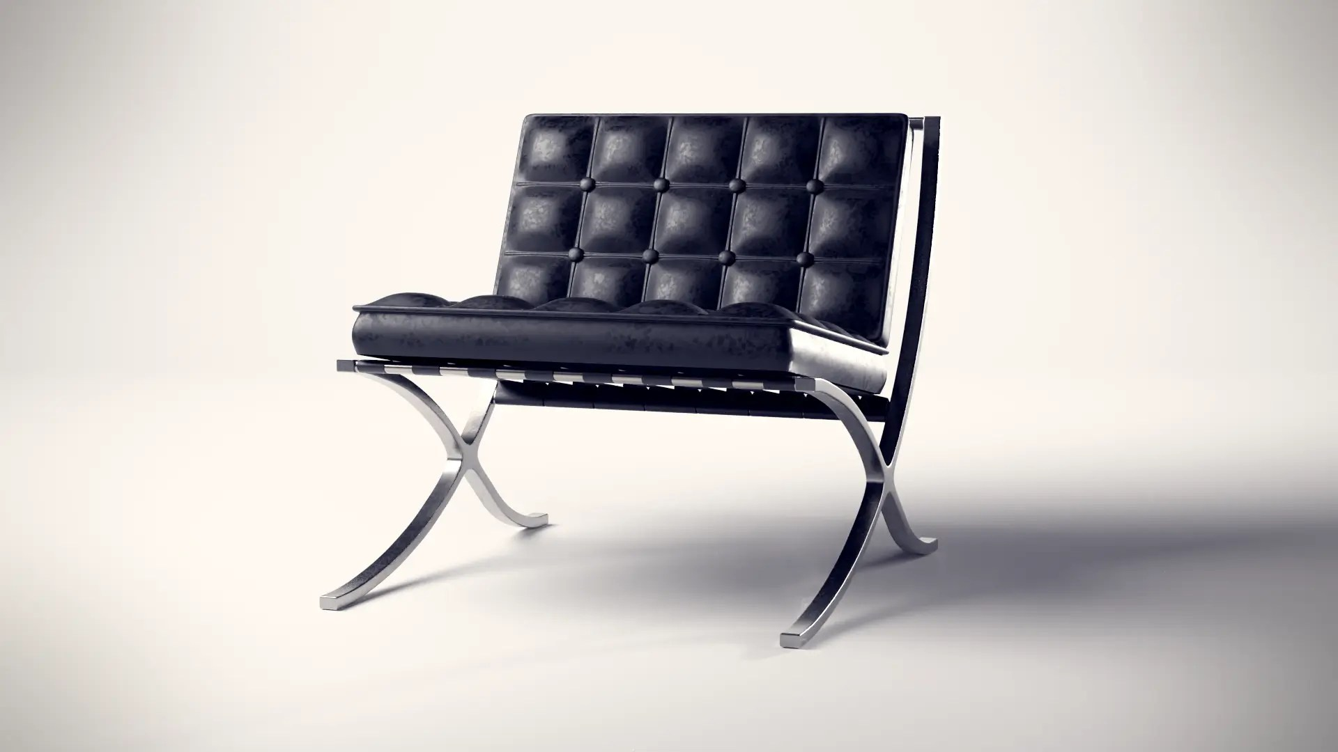 Whiteroom Rendering eines stilvollen Sessels in Leder-Optik mit Blickrichtung nach links