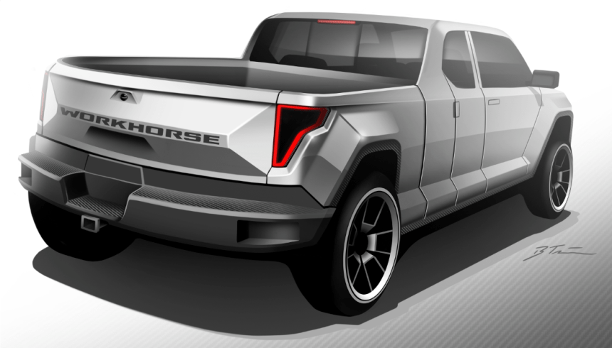 Workhorse W-15 electric pickup truck rear-view