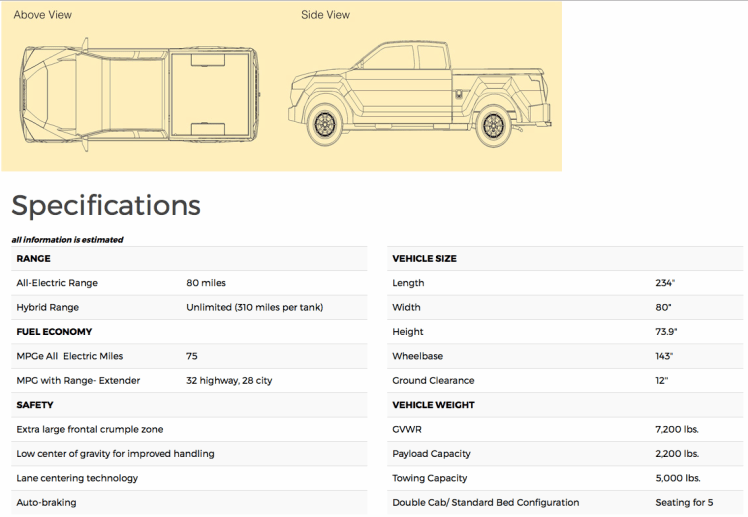 Workhorse W-15 electric pickup truck specification