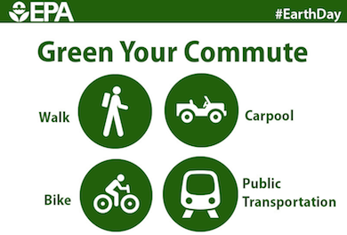 Earth Day Week Go Green Commuting - Do your part public transport walk bike carpool