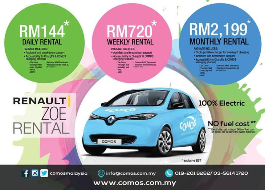 COMOS Rolls Out Electric Car Rental Program in Klang Valley monthly rentalCOMOS Rolls Out Electric Car Rental Program in Klang Valley daily weekly monthly rental Renault Zoe