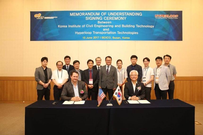 Hyperloop Transportation Technologies Signs Agreement to License Technology in South Korea Memorandum Understanding signing ceremony