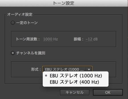 EBUオーディオ規格に準拠したトーンを作成するには「チャネルを識別」を選択