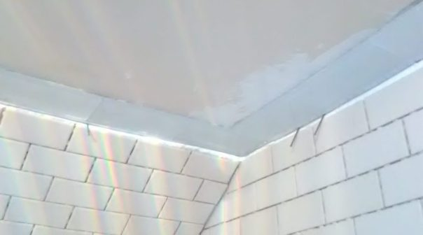 LED Shower Light in the unlit and not capped off with ceiling tile