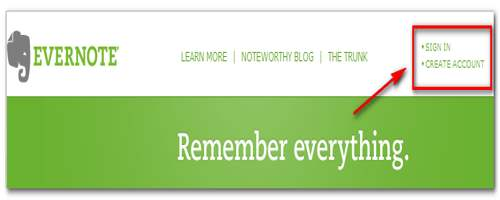 Sign In to Evernote