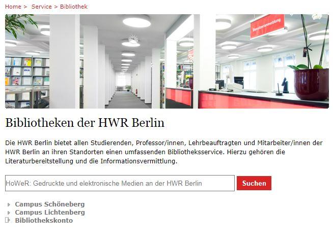 Bachelorarbeit schreiben - Online Bibliothek HWR Berlin