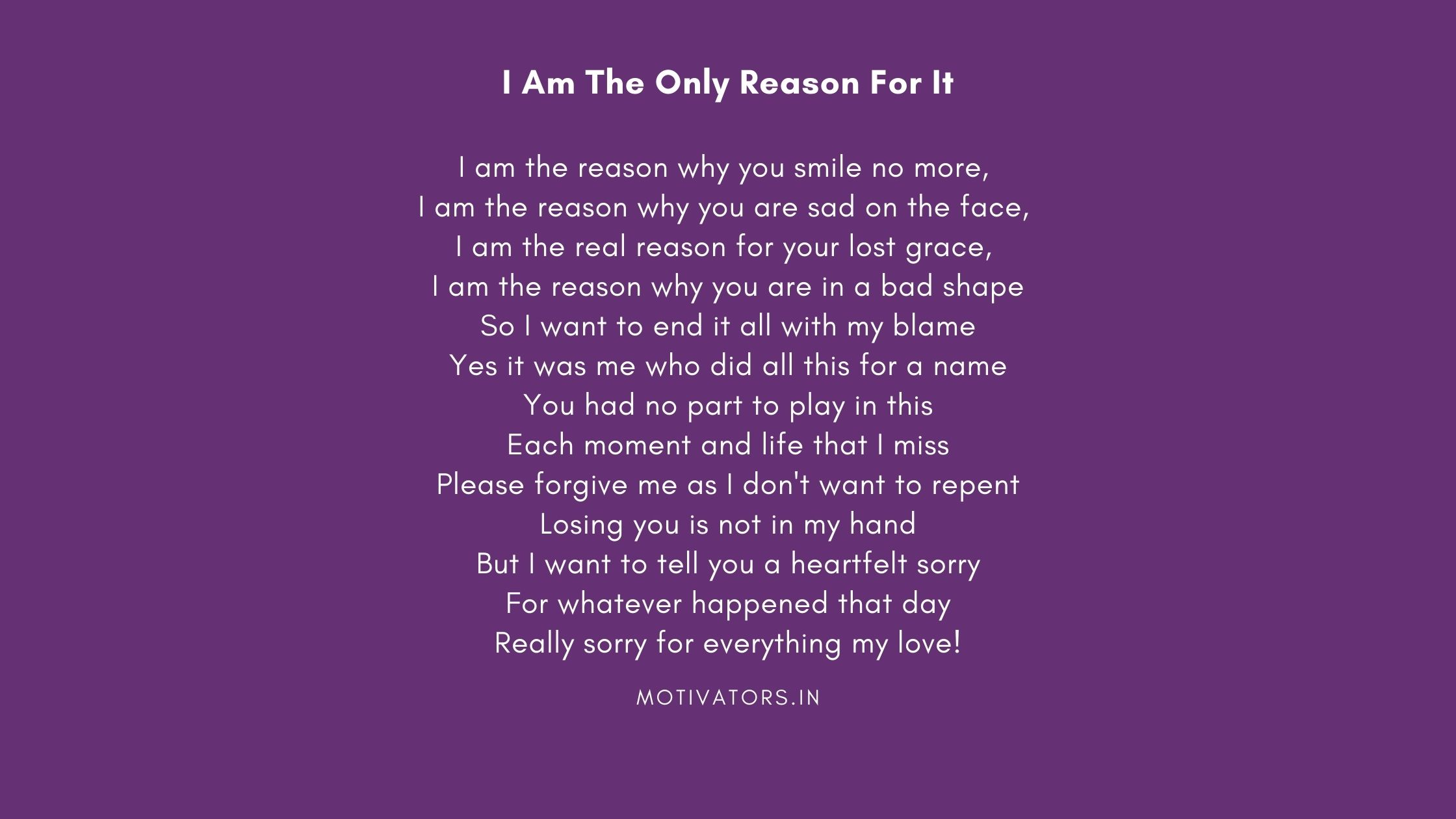 I Am The Only Reason For It