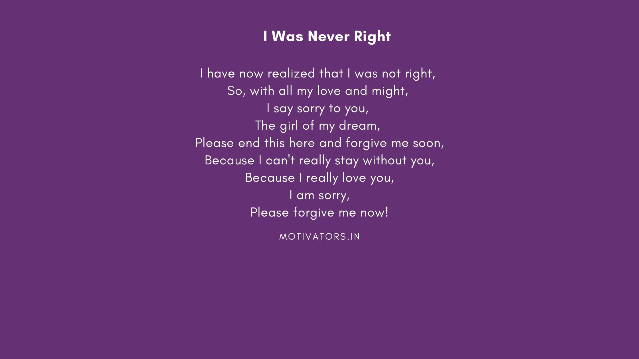 I Was Never Right