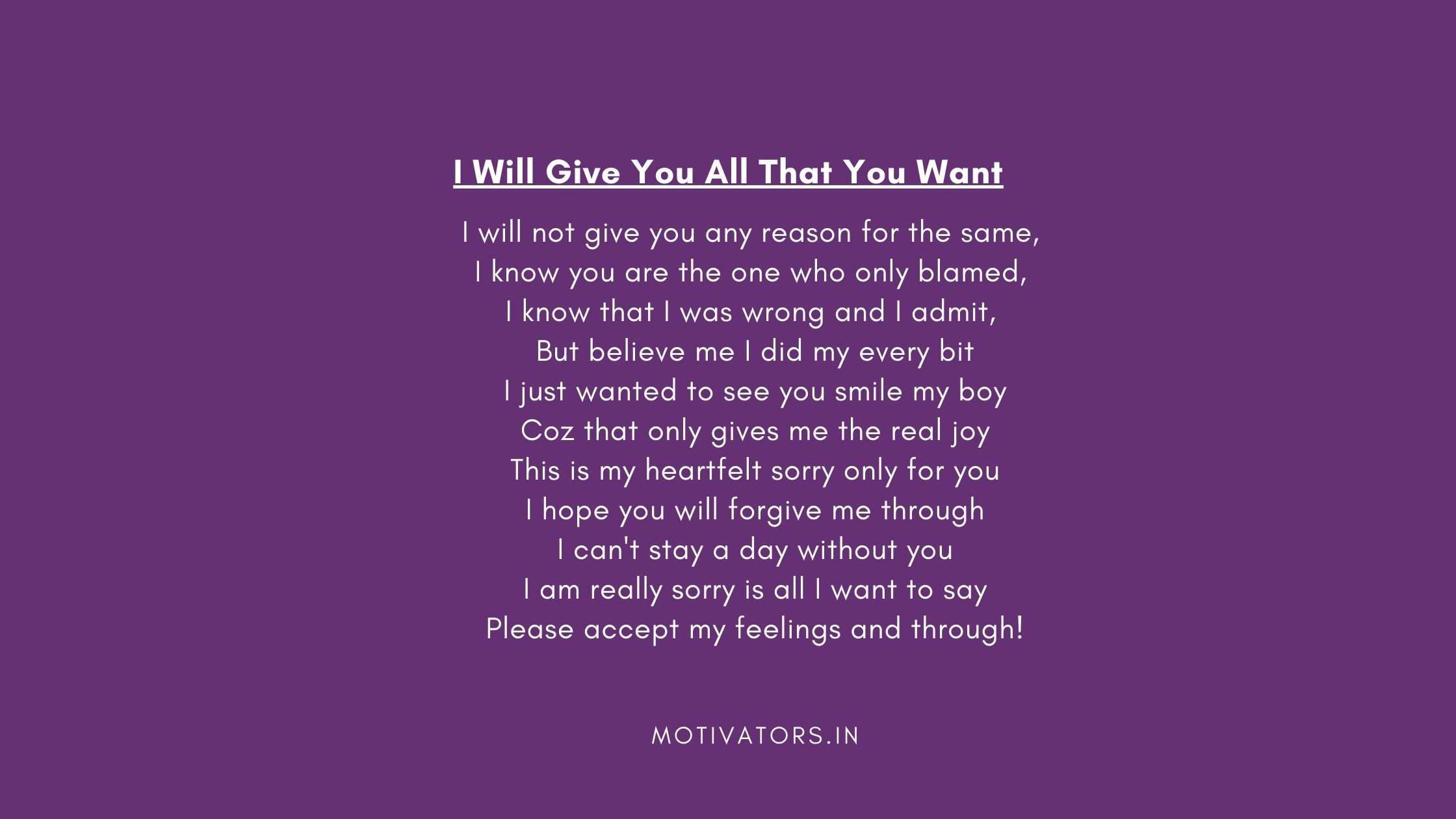 I Will Give You All That You Want