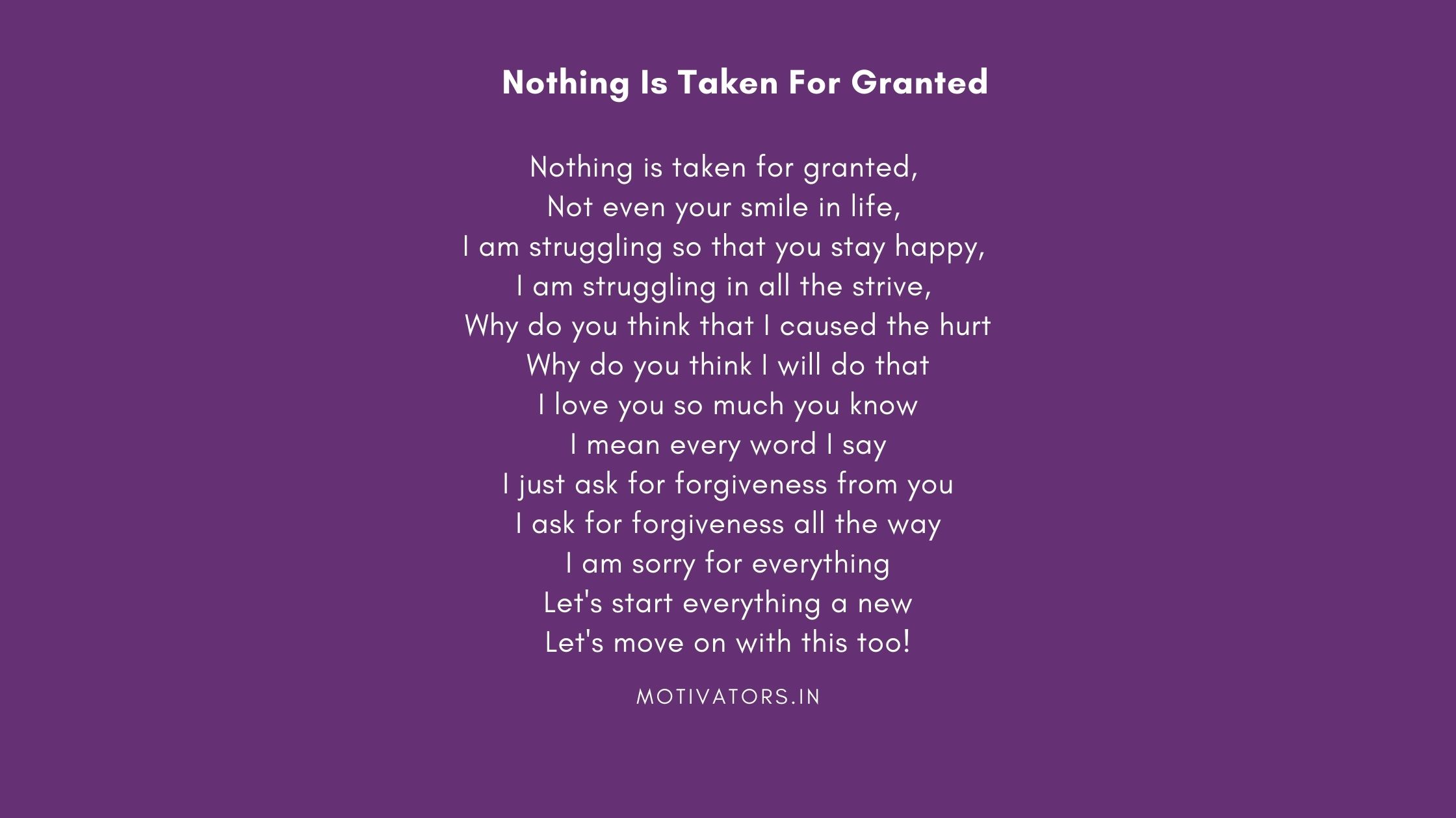 Nothing Is Taken For Granted