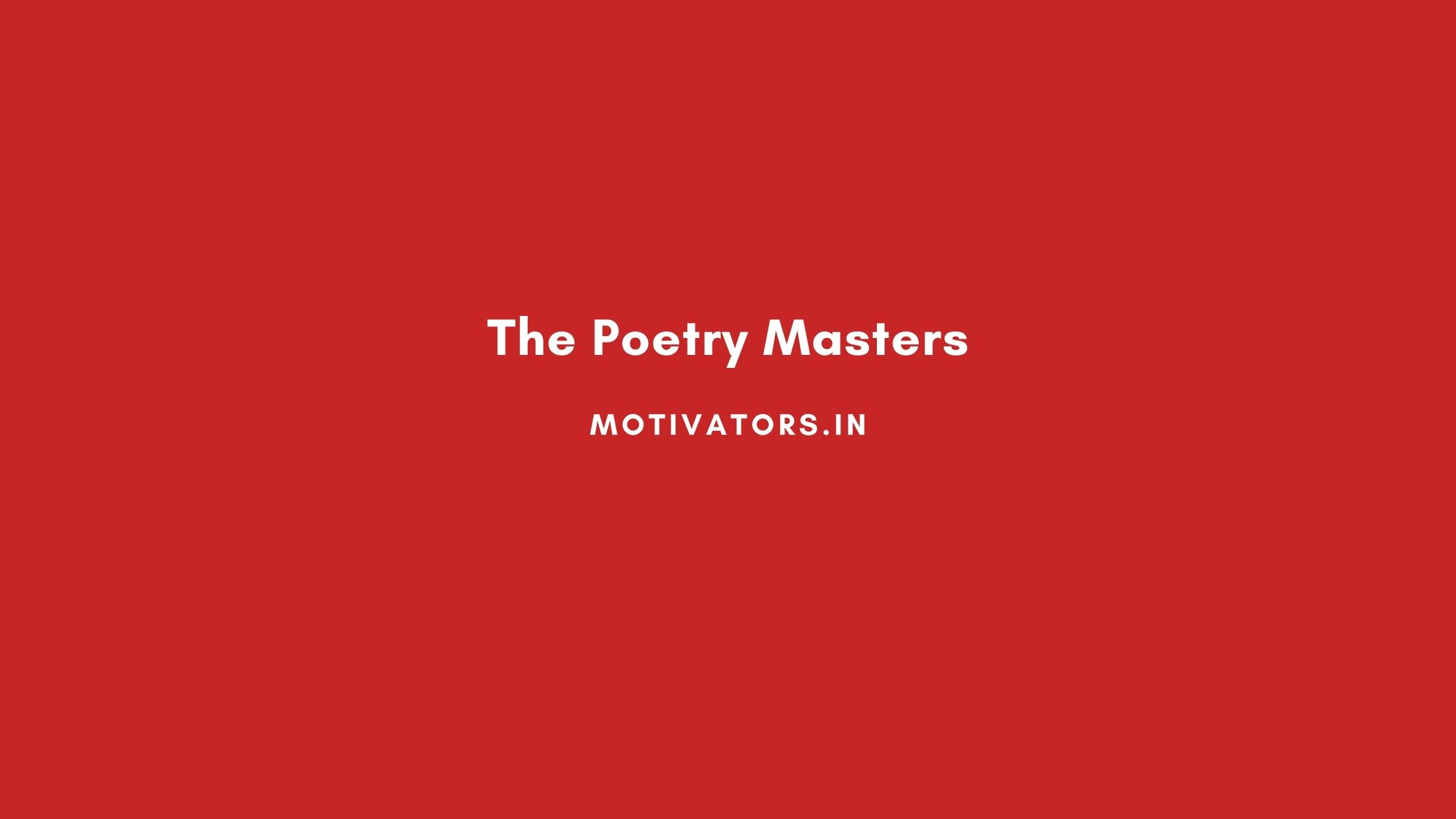 The Poetry Masters
