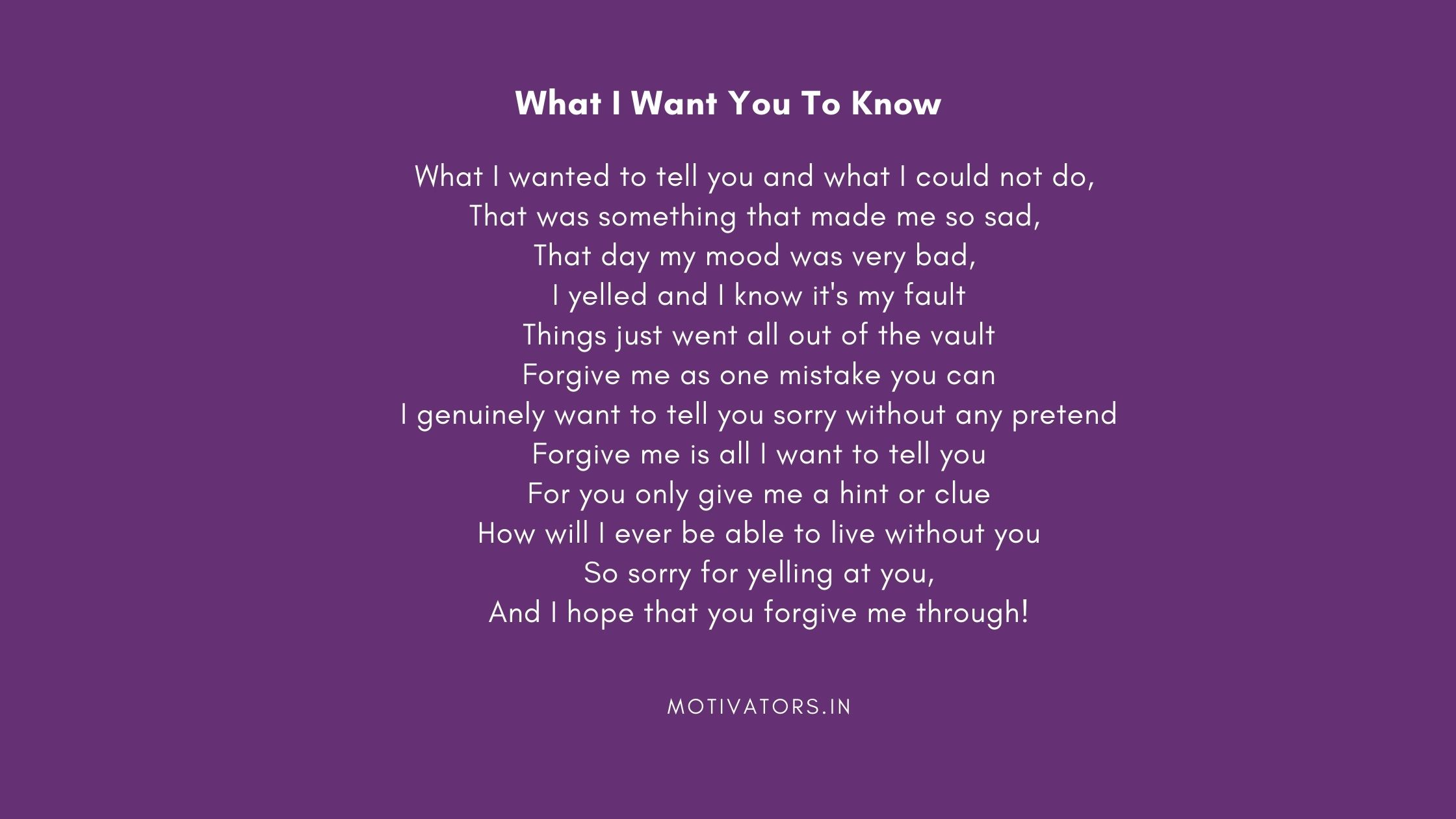 What I Want You To Know